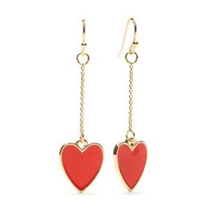 Crown & Ivy Heart Drop Chain Earrings-NWT-Red Gold